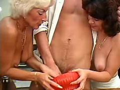 Aged ladies share cock on kitchen