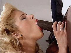 Blond milf sucks black dick n fucks