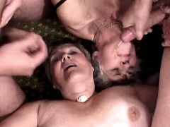 Two grannies fuck and get facials