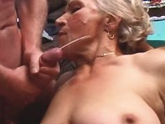 Granny fucks in orgy n gets facials