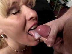 Horny man cums in mouth of granny