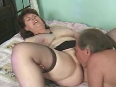 Lewd old lady licked and sucks cock