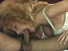 Lewd mature gives fantastic blowjob