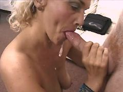Mature sucks and gets cum in mouth
