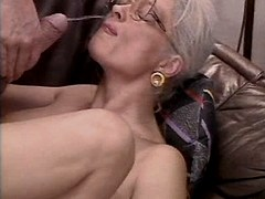 Aged mature gets facial after orgy