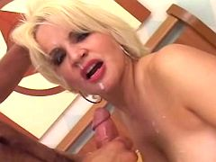 Gorgeous milf gets facial explosion after fuck