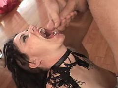 Brunette mature gets cum in mouth