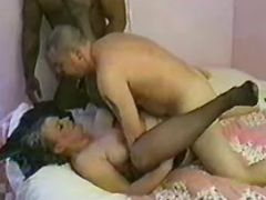 Old lady fucked by interracial guys