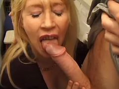 Mature sucks cock and licks asshole