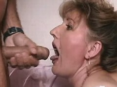 Mature gets cum in mouth after fuck