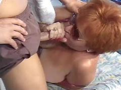 Plump granny sucks cock of masseur