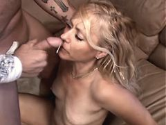 Mature fucks on sofa n gets facial